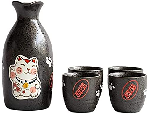GDLQ Set de sake, juego de sake japonés 5pcs, 30 0ML Conjunto de vino de sake de porcelana tradicional, copa afortunada 4 tazas 1 botella, buenos regalos para amantes de Sake Amigos y familiares