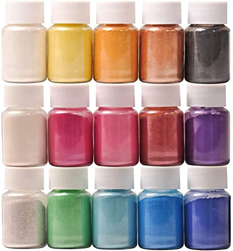 DEWEL Coloranti Resina Epossidica, Pigmenti in Polvere di Mica Metallizzata Naturale(10g * 15), per Coloranti Candele, Sapone, Kit Slime, DIY Resina Epossidica, Acquerello, Cosmetici, Make up