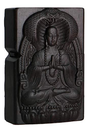 に適用するZippo (ジッポー) ライター モジュール用の天然木エボニーウッド彫刻ライターシェルボックス(じぞうぼさつ、地蔵菩薩、Ksitigarbha Boddhisattva 2#)