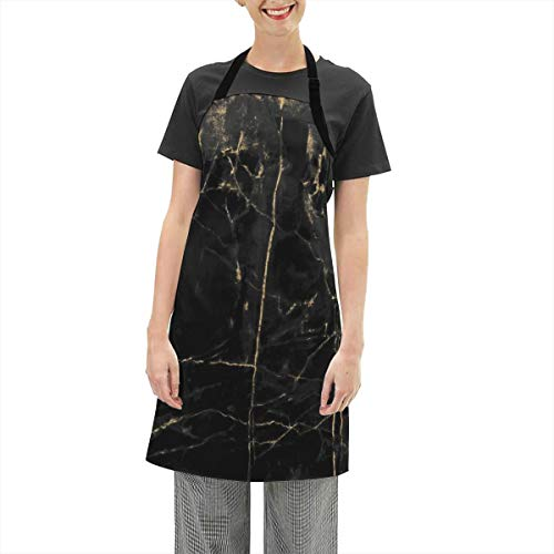 Lisang Waterproof Oxford Cloth Apron,Black and Gold Marble Texture Design Ideal BBQ Accessories Chef Kitchen Grilling Apron