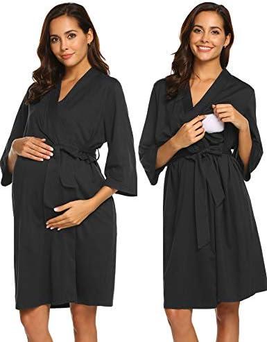 Ekouaer Bathrobe Maternity Robe Nursing Nightgown Breastfeeding Sleepwear product image