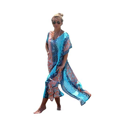 Cebilevin Damen Maxikleid Langes Kleid Strandkleider Türkischer Stil Boho Strandponcho Lose Maxi Kimono Kaftan Tunika Lange Sommerkleider
