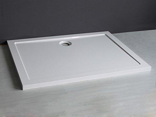Douchebak rechthoekig ABS douchebord WIT 70x90 cm, H 5 cm met afvoergarnituur 9 cm 80 x 120 cm wit
