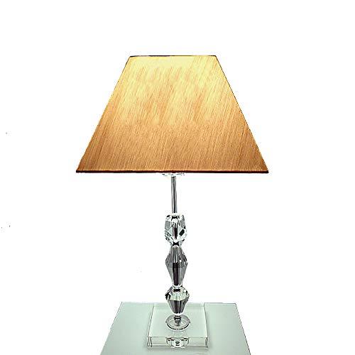 Dapo LED Tischleuchte Lampe Kristallfuß und Seiden Stoffschirm Kristallleuchte Tischlampe (klar-Gold, Tamas 57 cm)