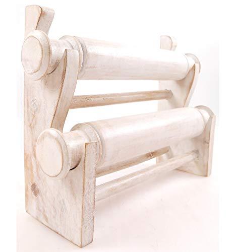 Expositor para pulsera y 2 Varillas de madera maciza con acabado de mimbre, color blanco
