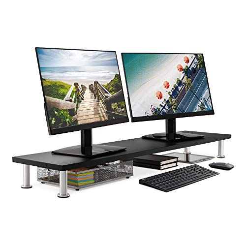 Large Dual Monitor Stand for Computer Screens - Solid Bamboo Riser Support The Heaviest Monitors, Printers, Laptops or TVs - Perfect Shelf Organizer for Office Desk Accessories & TV Stands (Black)
