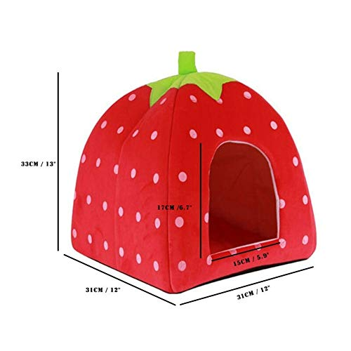 Kalmerende Bed Plush Soft Strawberry Leopard Pet Dog Cat House Tent Kennel Doggy Winter Warm Kussen Basket Dog Tag (Color : Red)