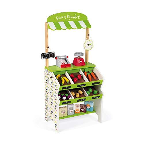 Janod - Negozio Green Market (legno), 32 accessori inclusi, giocattolo di imitazione per fare la spesa, per bambini dai 3 anni in su, J06574, colore: verde e bianco
