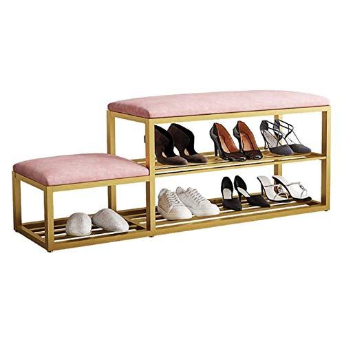 SMLZV Zapateros, Zapato de almacenamiento en rack de 2 niveles copetudo cojín de asiento metal zapatero Banco Puerta de entrada Pasillo Sala de estar tapizada Estante de almacenamiento (color: rosa, T