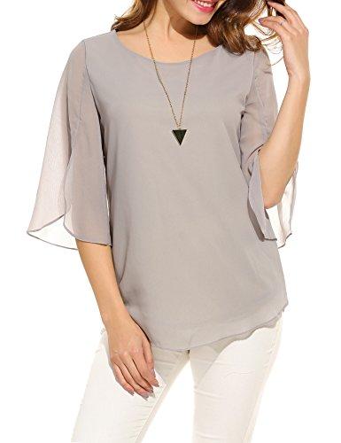 Beyove Damen Shirts lose 3/4 Ärmel Bluse Hemd Chiffon Langarmshirts Oberteile Tops elegant (EU 42(Herstellergröße:XL), Grau A)