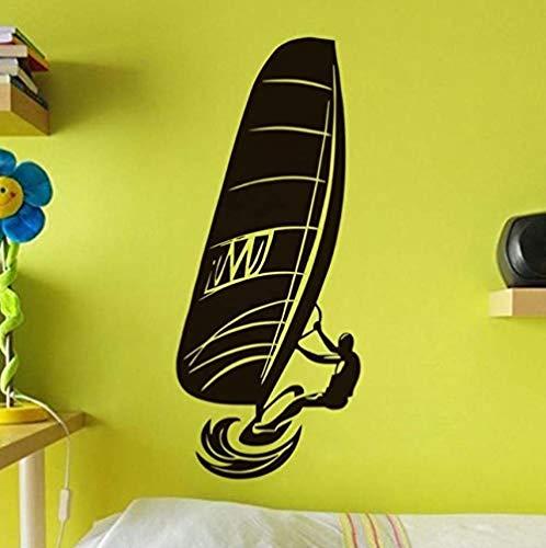 Pegatinas de pared 25X59 cm Jugador de windsurf Pegatinas autoadhesivas Deportes acuáticos Vinilo de pared Calcomanía de pared impermeable Accesorios de decoración del hogar