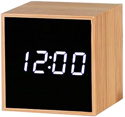 JOK Reloj Despertador de Madera, Mini Reloj de Escritorio electrónico Digital Pantalla LED Hora Fecha Temperatura Control de Voz 3 alarmas Brillo Despertador Ajustable para dormitorios Hogar