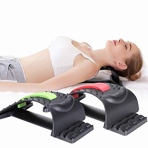Chnzyr Magic Back Stretcher and Massagers, Magnet Therapy Back Support Device with Magnetic Beads, 3 Stage Posture Corrector for Fitness, Lumbar Support Relaxation,Black Pink