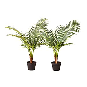 Silk Flower Arrangements Tommino 2 Pack Artificial Areca Palm Trees 3 Feet Faux Paradise Palm Tree in Pots for Home Office Décor Indoor and Outdoor Decorative 8 Branches Green Plants