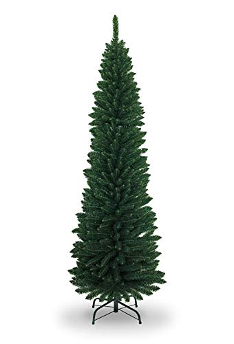 SHATCHI 4Ft-8Ft Artificial Flocked Slim Christmas Pencil Tree Holiday Home Decorations with Pointed tips and Metal Stand (Snow/Green/Black/White/Grey), 7ft