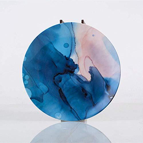DJY-JY Plato de porcelana de 8 pulgadas Nordic Round Ceramic Plate Irregular Strip Plato de cena de porcelana Postre Steak Platos Bandeja Houselhold Vajilla de fiesta
