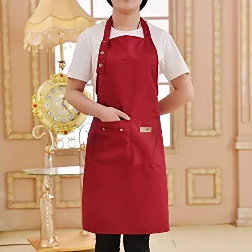Cocina Pure Color Delantal decocinarpara la Insignia Mujer Hombres Cocinero Camarero Cafetería Tienda Barbacoa Peluquería Delantal de Encargo del Regalo Baberos al por Mayor - Red