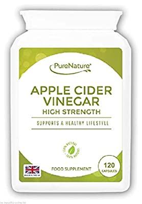 Apple Cider Vinegar 120 High Strength Capsules to Support the Maintenance of a Healthy Body Fluid Balance, Diet, Weight loss and Sugar Balance FREE UK Delivery from Distributed by Be-Beautiful-Online