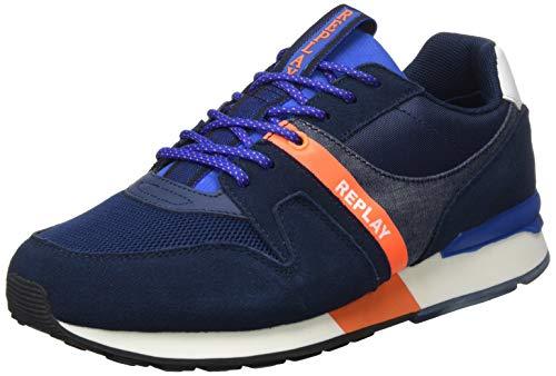 Replay Herren Adrien-TIGHER Sneaker, Orange (Navy Orange 369), 44 EU