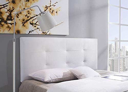 Cabecero/Cabezal tapizado Carla 150X115 Blanco, Acolchado con Espuma, 8 cm de Grosor, Incluye herrajes para Colgar