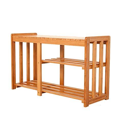 HYY-YY Zapatero de bambú de 2 capas para almacenamiento, zapatero para entrada, pasillo, baño, sala de estar y pasillo