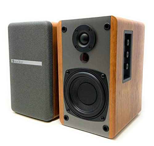 SINGING WOOD BT25 Active Bluetooth Bookshelf Speakers- Studio Monitor Speaker -2 AUX Input - Full Function Remote Control - Wooden Enclosure - 50 Watts RMS (Beech Wood)