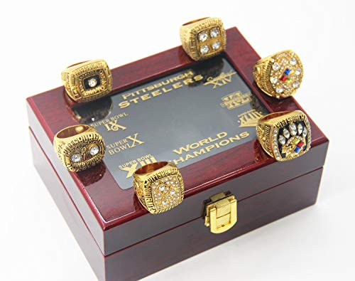 Pittsburgh 6 time 'Steelers Champions Rings Set with Box size 13...