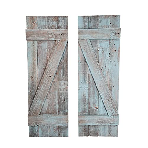 BarnwoodUSA | Rustic Farmhouse Window Shutters (Set of 2) | Made of 100% Reclaimed and Recycled Wood | Rustic Interior Window Shutters | Traditional Country Style Home Decor | Robins Egg Blue