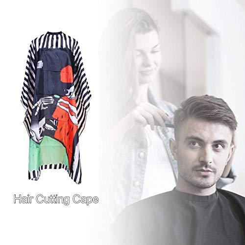 Barber Cape Mit Schädel Print Streifenmuster Friseursalon Haarschneideumhang Friseursalon Cape für Haarschnitt Friseur Schürze Tuch Werkzeug für Hair Styling Schnitte und Farben, Friseur Umhänge