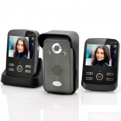 Wireless videocitofono 'Salvaguardia Duo' - 2 x 3,5 pollici monitor, portata di 300m, foto e Video funzione