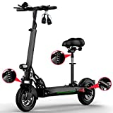 Scooter électrique Adulte Pliable léger avec Batterie Li-ION, trottinettes de Banlieue, Barre en T Ajustable pour Scooter de la Ville - Grands Enfants, garçons,40km