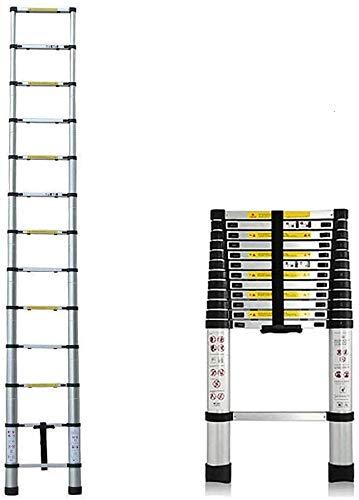 Escalera telescópica plegable multiusos de aluminio 2,6 m/3,2 m/3,8 m/5 m escalera recta portátil capacidad máxima 150 killogramo (3,8 m)