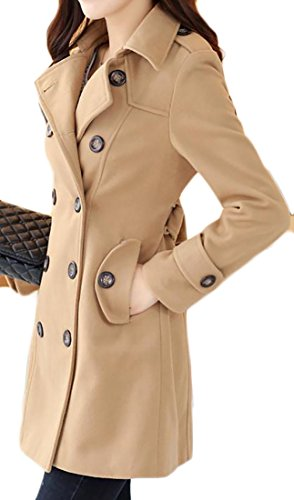 Pivaconis Womens Double-Breasted Winter Solid Mid-long Outerwear Pea Coat Light Tan XS