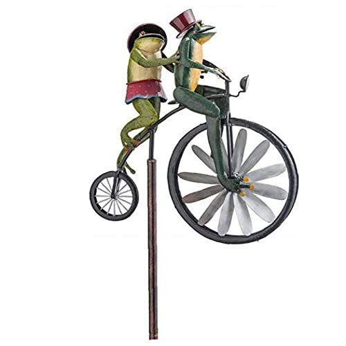 Garden Wind Spinner Vintage Bicycle Cute Frog Animal Statues Sculptures for Yard Lawn Patio Decoration Decorative Windmill