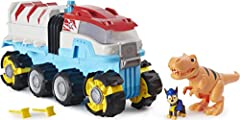 MOTORIZED PAW PATROL VEHICLE: The Dino Patroller is the first-ever motorized team vehicle! With the push of a button, watch it go! When you spot a dino in trouble, launch the rescue nets! CONQUER ANY TERRAIN: Equipped with oversized all-terrain wheel...