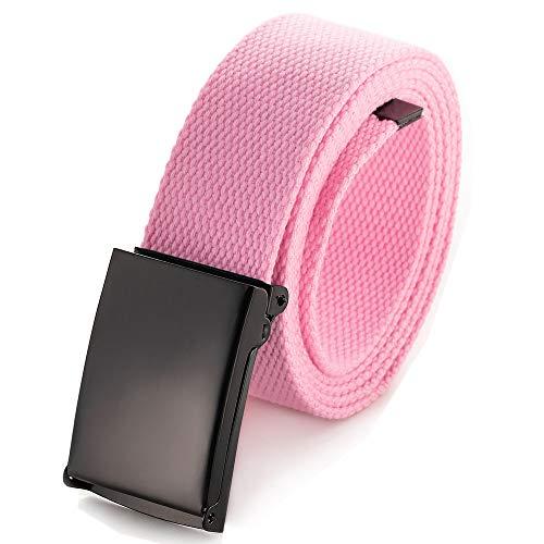 """Cinturón de cintura ajustable hasta 52""""con hebilla militar negra sólida (Rosa claro)"""