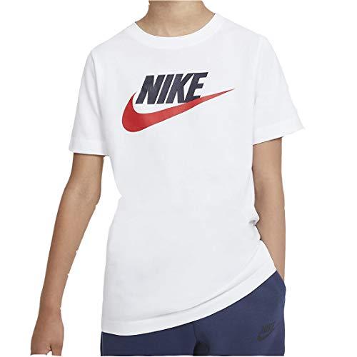 Nike Boys B NSW Tee Futura ICON TD T-Shirt, White/Obsidian/(University red), XL