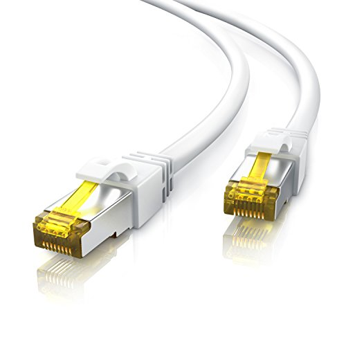3m Ethernet Câble Cat 7 - Gigabit LAN Réseau 10Gbps - 2X fiches RJ45 - S FTP Blindage - PC Switch Router Modem TV Box Boîtiers ADSL Consoles de Jeux Vidéo - Blanc