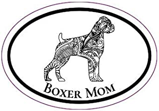 WickedGoodz Vinyl Black Boho Style Boxer Mom Decal - Dog Bumper Sticker - Perfect for Windows,Tumblers, Cups, Laptops, Cars, Trucks