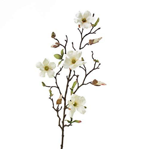 artplants.de Rama de Magnolia Artificial Lilo, 4 Flores, yemas, Crema-Blanco, 75cm - Planta Artificial - Ramas con Flores