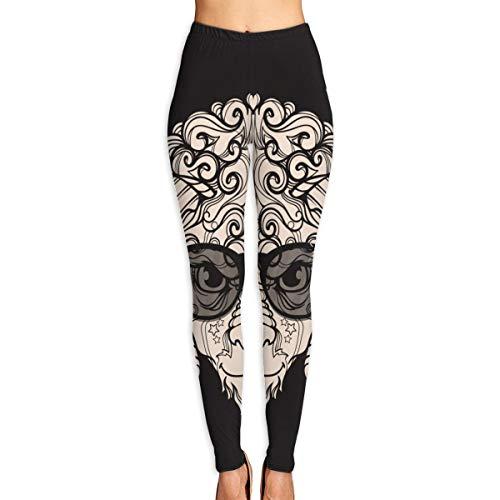 Yogahosen Damen, Ornament Face Line Art von Schafen, Widder mit Hörnern, Brillen, Sonnenbrillen High Waist Workout Pants XL