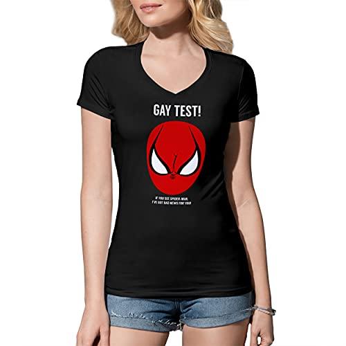 Fun Gay Test Spiderman Camisa Negra De Cuello En V para Mujer Size XL