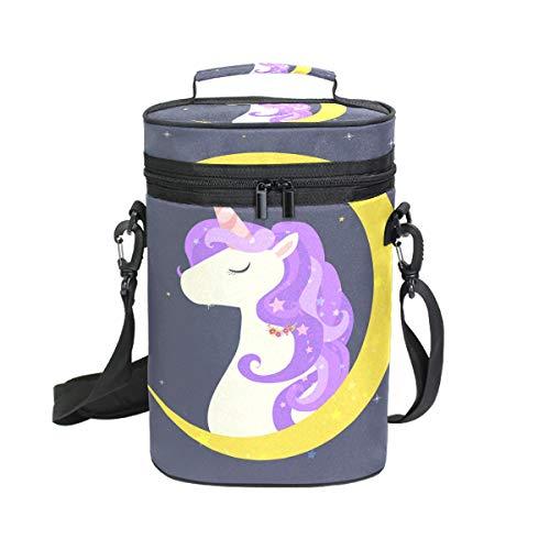 DEZIRO Eenhoorn en halve maan Premium geïsoleerde 2 flessen wijn Tote wijn draagtas met schouder riem gewatteerde bescherming, wijn reizen koeler tas