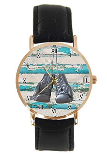 Lustige Boxhandschuhe Armbanduhr Fashion Klassisch Unisex Analog Quarz Edelstahl Gehäuse Lederarmband Uhren