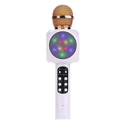 YYZLG 1816 Drahtloses Bluetooth-Mikrofon Mikrofon Karaoke-Mikrofon K Song Pocket Mikrofon Lautsprecher Kindermikrofon-White