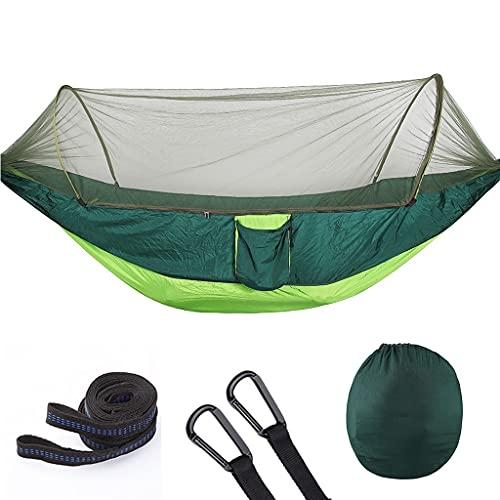 HAI RONG Cama de camping resistente al desgaste, hamaca de viaje ultraligera para camping, mosquitero, capacidad de carga de 200 kg, paracaídas de secado rápido, hamaca de nailon para exteriores