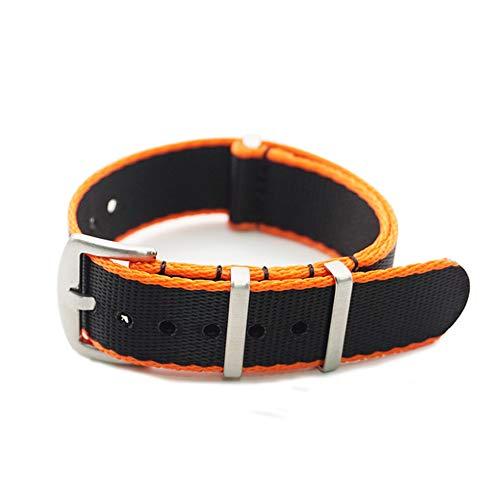GDYX Gurt Hochwertiger Sicherheitsgurt aus Edelstahl mit NATO-Gurt, 22 mm, schwarz-orange Rand
