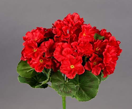 Seidenblumen Roß Geranie 26cm rot -ohne Topf- ZF (Modell 2018) Kunstpflanzen Kunstblumen künstliche Blumen