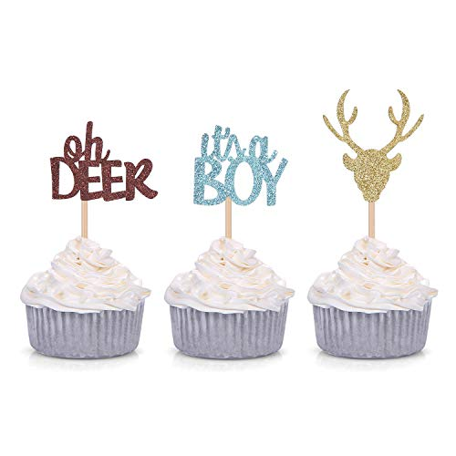 Oh Deer Its A Boy Cupcake Toppers for Male Baby Shower Party Decorations (24 Counts)