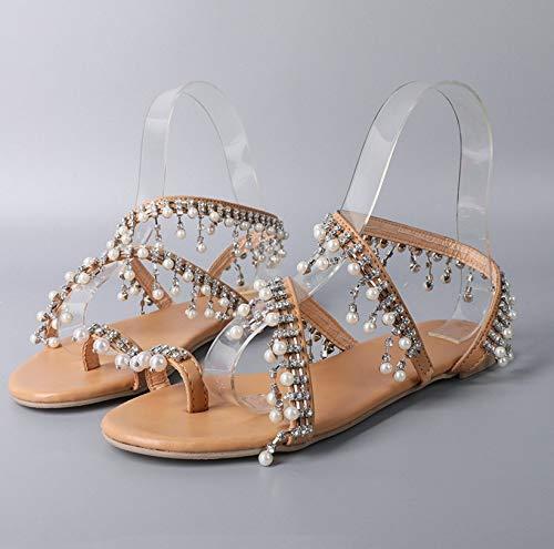 Sandalen voor dames, zomer handgemaakte parels Romeinse sandalen dames rond hoofd vlak met platte afbeelding enkelband hielriem met Toe Toe Ademend lichte antislip badschoenen zilver